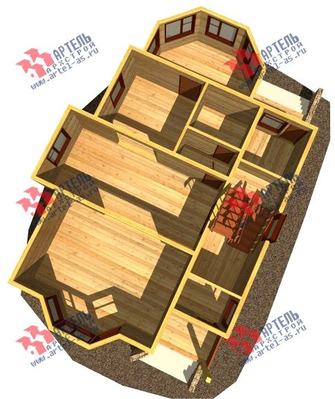 двухэтажный дом из бруса площадью от 100 до 150 кв. м. с  верандой, мансардой, эркером, проект Вариант 8.5 Г фотография 997