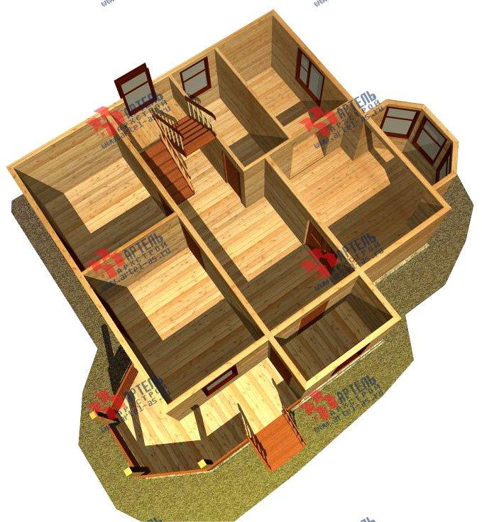 двухэтажный дом из бруса площадью от 100 до 150 кв. м. с  мансардой, террасой, эркером, проект Вариант 8 Д-1 фотография 1017
