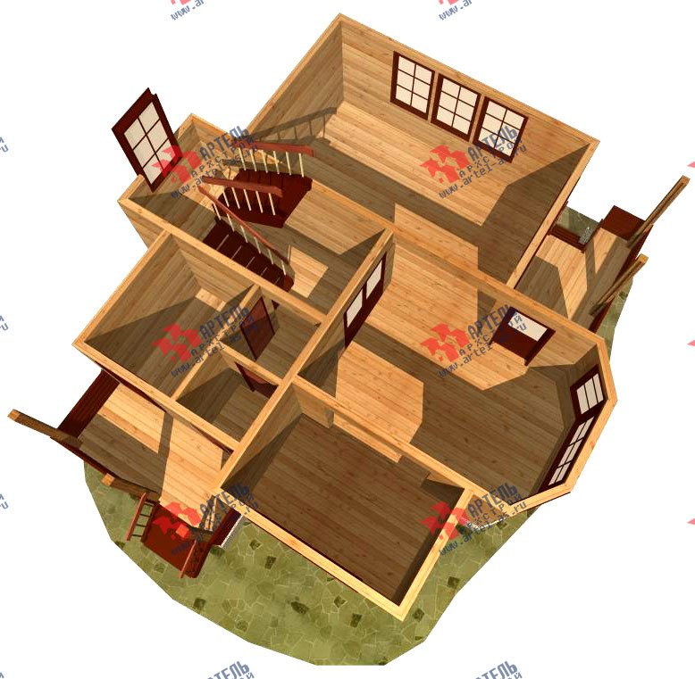двухэтажный дом из бруса площадью от 100 до 150 кв. м. с  балконом, мансардой, эркером, проект Вариант 9.3 В фотография 1133