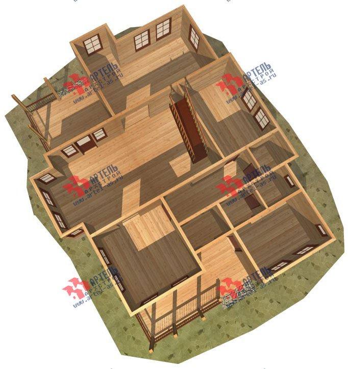 двухэтажный дом из бруса площадью свыше 200 кв. м. с  террасой, эркером, проект Вариант 15.1 А фотография 1498