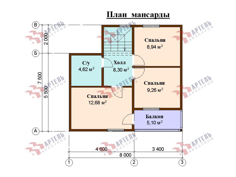 двухэтажный дом из профилированного бруса площадью до 100 кв. м. с  балконом, мансардой, проект Вариант 7.5 Д фотография 5763
