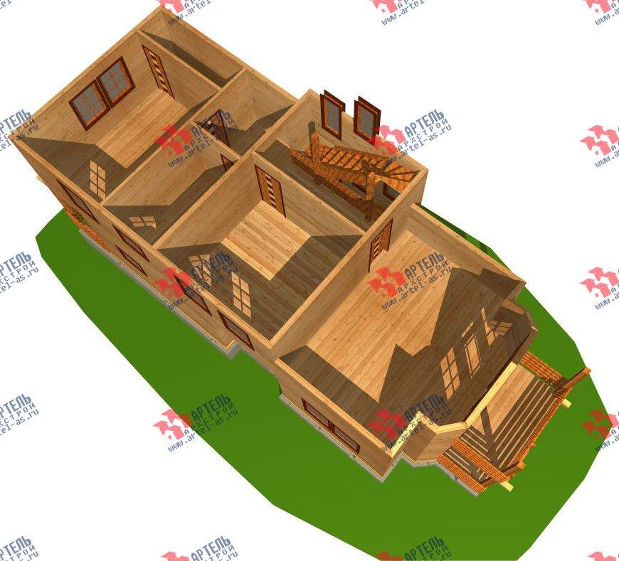 трёхэтажный дом из бруса площадью свыше 200 кв. м. с  балконом, мансардой, проект Вариант 6.3 Н фотография 2293