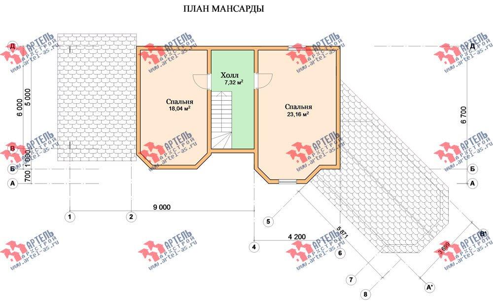 двухэтажный дом из профилированного бруса площадью от 100 до 150 кв. м. с  мансардой, террасой, эркером, проект Вариант 6.7 Б фотография 2481