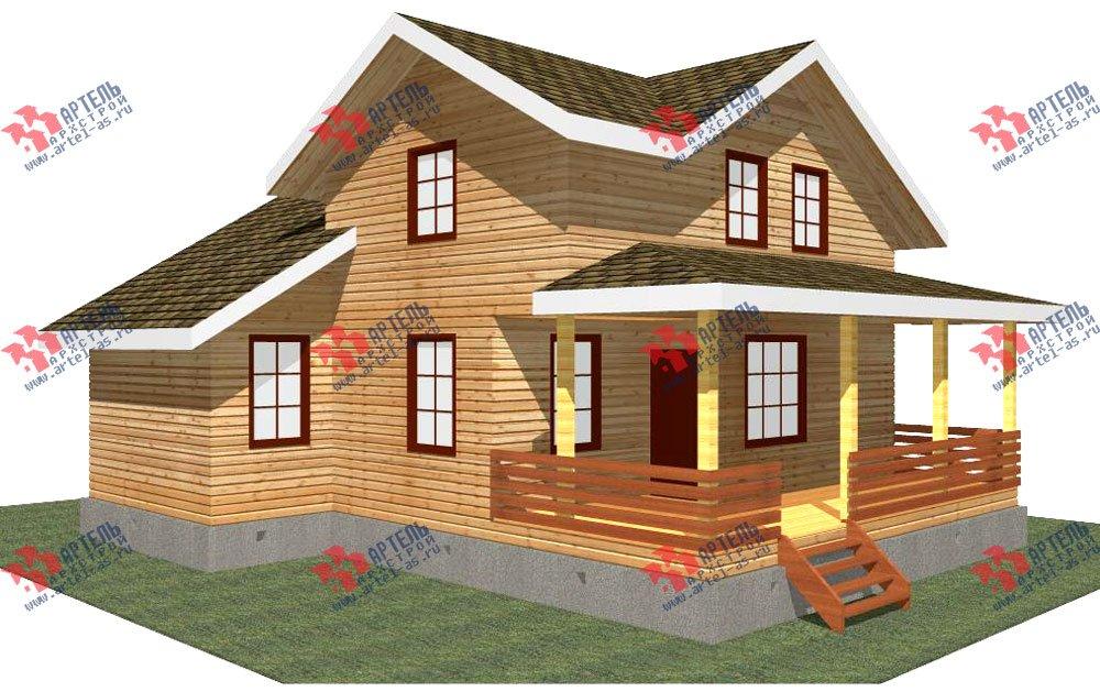 двухэтажный дом из профилированного бруса площадью от 100 до 150 кв. м. с  мансардой, террасой, проект Вариант 8.8 Б фотография 2449