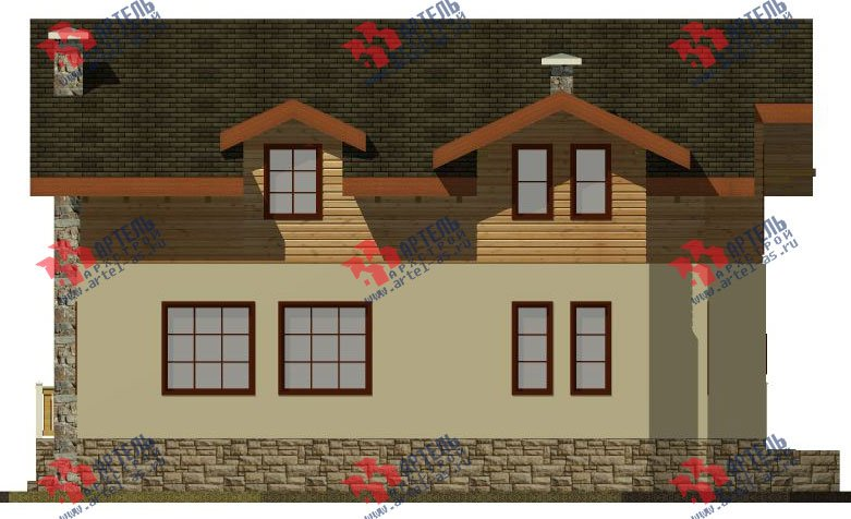 двухэтажный дом омбинированные дома площадью от 150 до 200 кв. м. с  балконом, эркером, проект Вариант 26 Комбинированный фотография 2826
