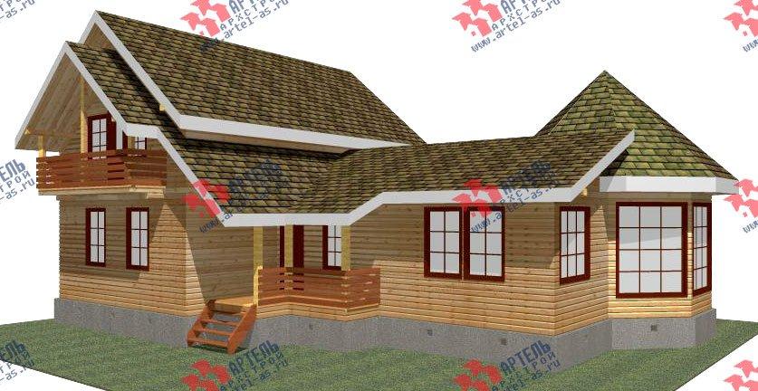 двухэтажный дом из профилированного бруса площадью от 150 до 200 кв. м. с  балконом, мансардой, эркером, проект Вариант 9 Е-1 фотография 2607