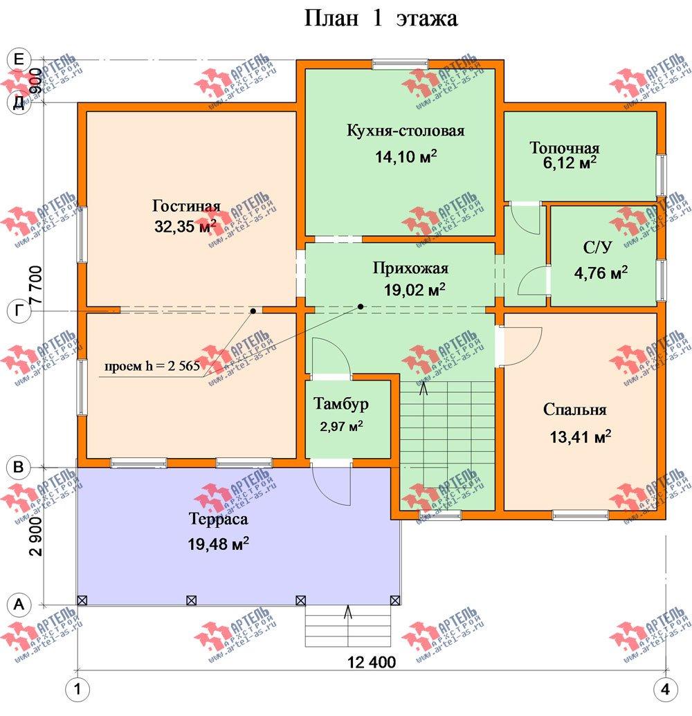 двухэтажный дом из бруса площадью от 150 до 200 кв. м. с  балконом, террасой, эркером, проект Вариант 12.4 А фотография 2683