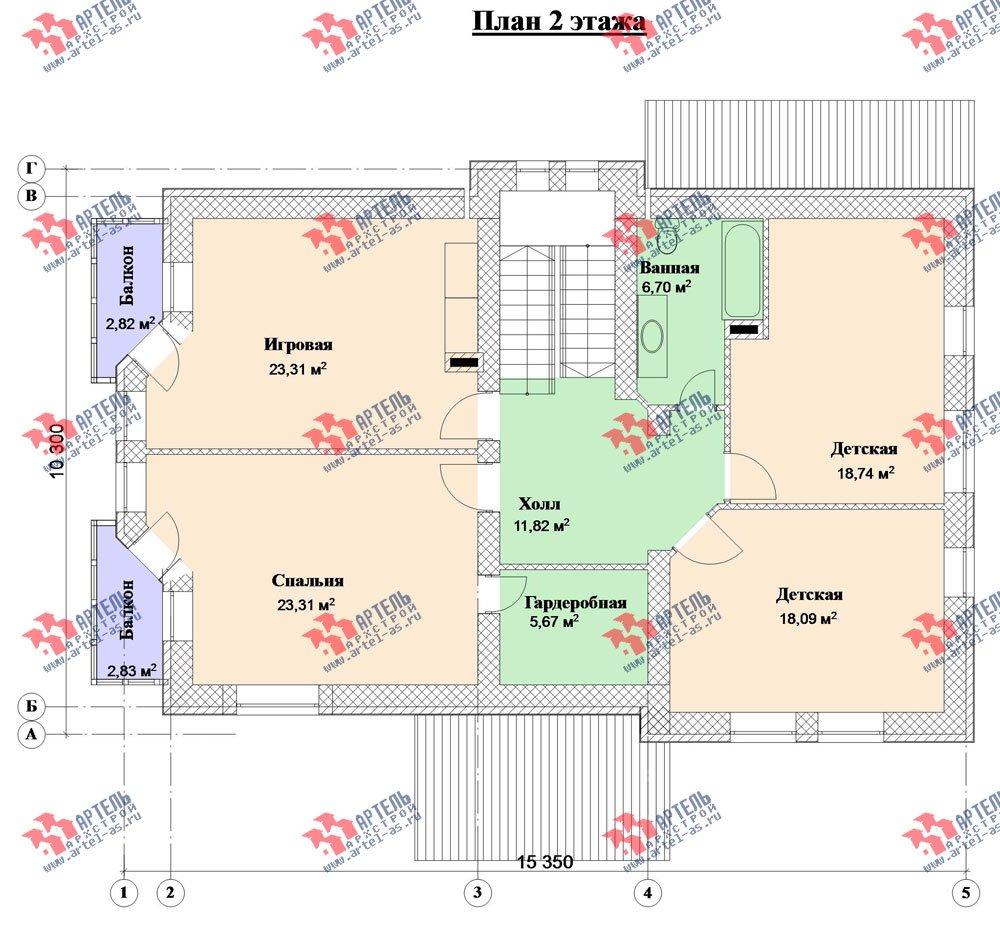 двухэтажный дом из камня площадью свыше 200 кв. м. с  балконом, эркером, проект Вариант 23 фотография 2720
