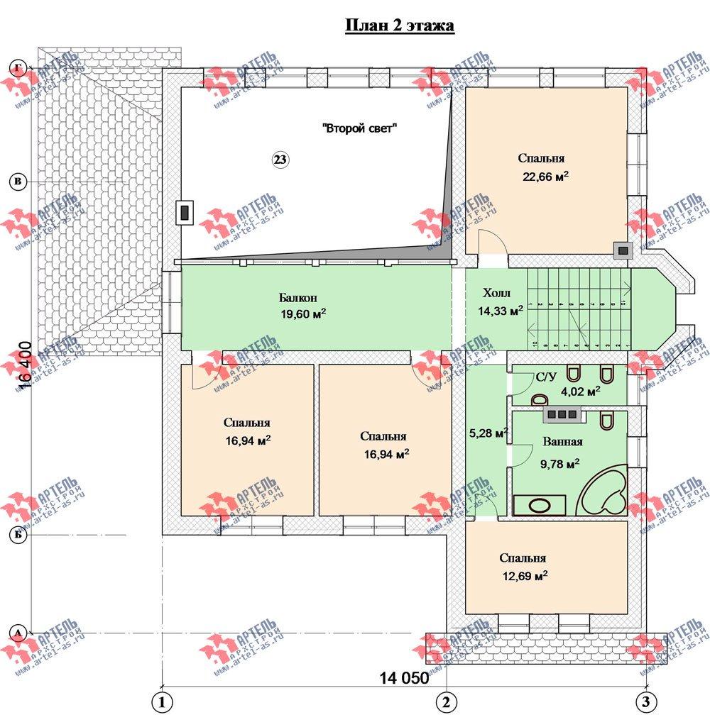 трёхэтажный дом из камня площадью свыше 200 кв. м. с  балконом, мансардой, эркером, проект Вариант 24 фотография 2748