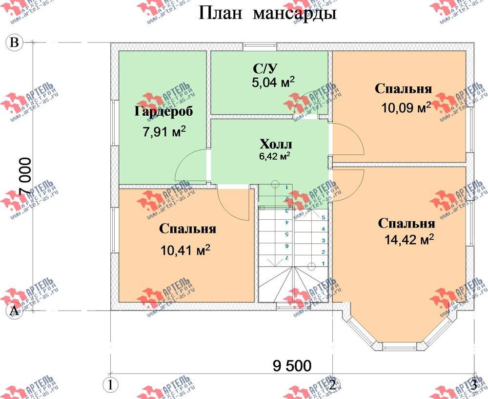 двухэтажный дом из профилированного бруса камерной сушки площадью от 100 до 150 кв. м. с  мансардой, эркером, проект Вариант 7 фотография 2805