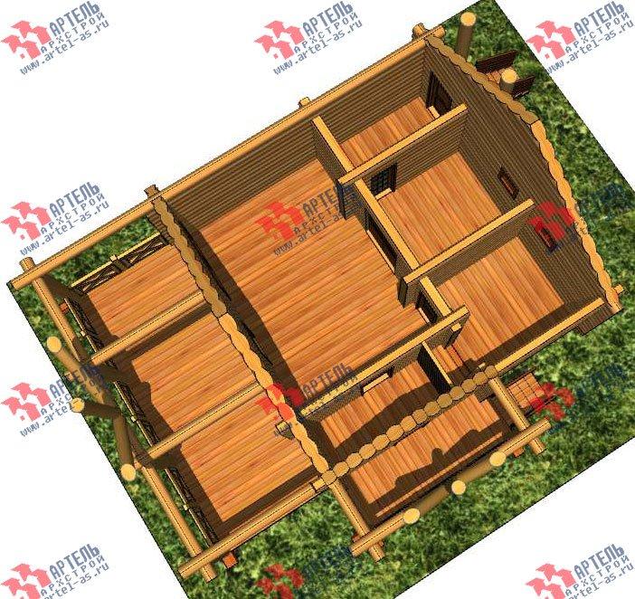 одноэтажный дом из оцилиндрованного бревна площадью до 100 кв. м. с  террасой, проект Вариант 2 фотография 3035