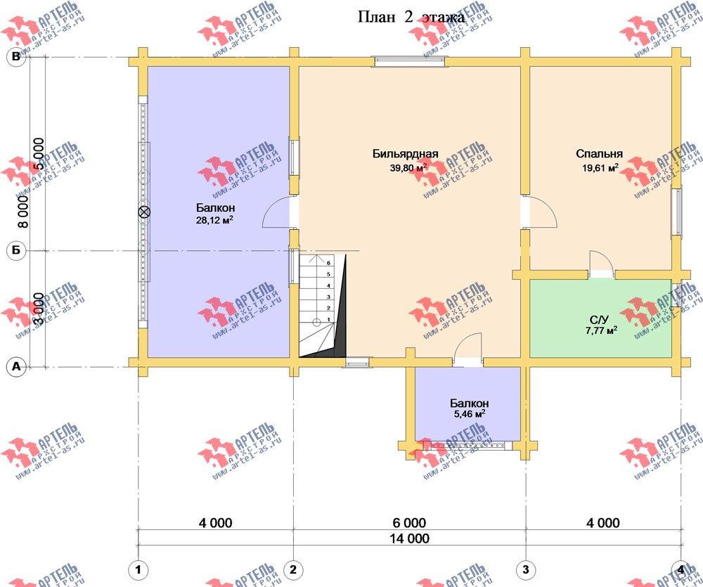 двухэтажный дом из оцилиндрованного бревна площадью свыше 200 кв. м. с  балконом, террасой, проект Вариант 3 фотография 3052