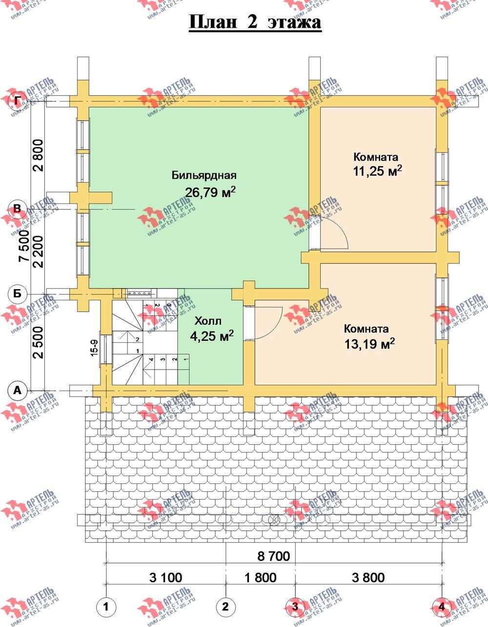 двухэтажный дом из оцилиндрованного бревна площадью от 100 до 150 кв. м. с  террасой, проект Вариант 4 фотография 3063