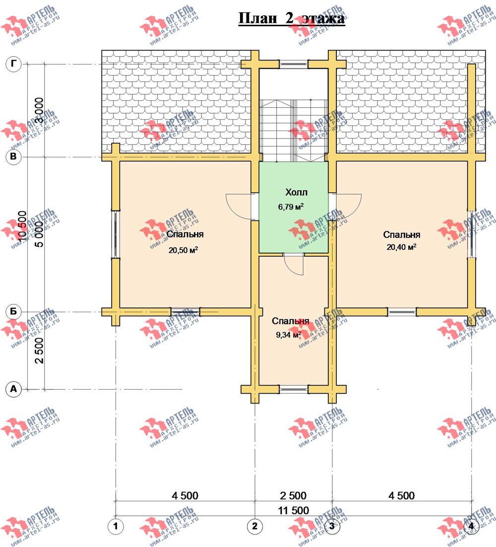двухэтажный дом из оцилиндрованного бревна площадью от 100 до 150 кв. м. с  террасой, проект Вариант 6 фотография 3098