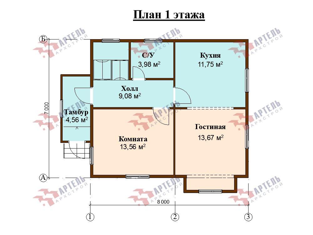 двухэтажный дом из профилированного бруса площадью от 100 до 150 кв. м. с  мансардой, эркером, проект Вариант 7 И фотография 5865