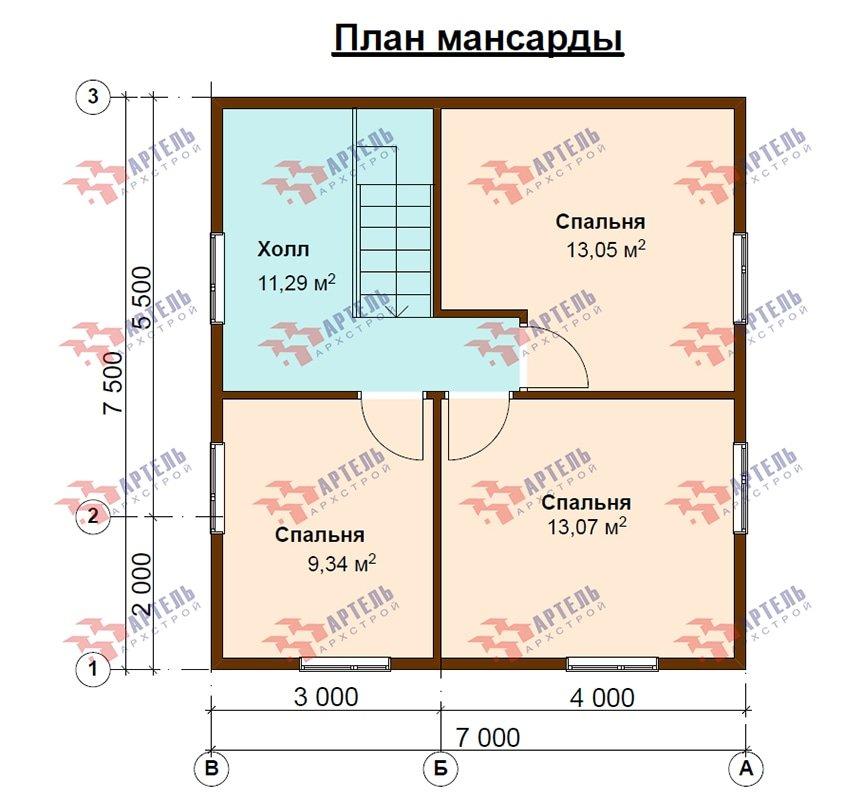двухэтажный дом из профилированного бруса площадью до 100 кв. м. с  мансардой, эркером, проект Вариант 7 Д фотография 4868