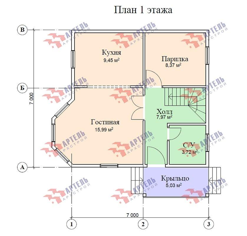 двухэтажный дом из профилированного бруса площадью до 100 кв. м. с  мансардой, эркером, проект Вариант 7 Е-1 фотография 4866
