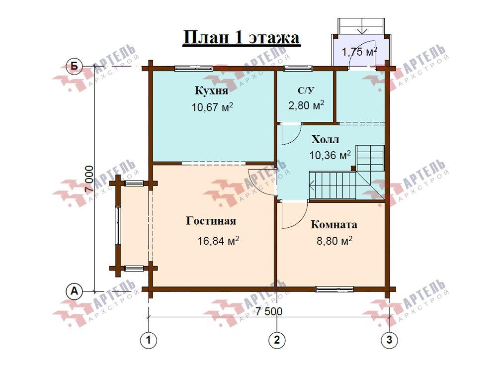 двухэтажный дом из профилированного бруса площадью до 100 кв. м. с  мансардой, эркером, проект Вариант 7 Г фотография 5811