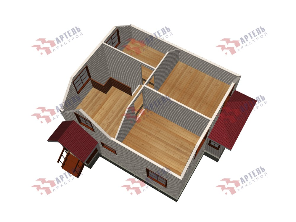 двухэтажный дом из профилированного бруса площадью до 100 кв. м. с  мансардой, эркером, проект Вариант 7 Г фотография 5813