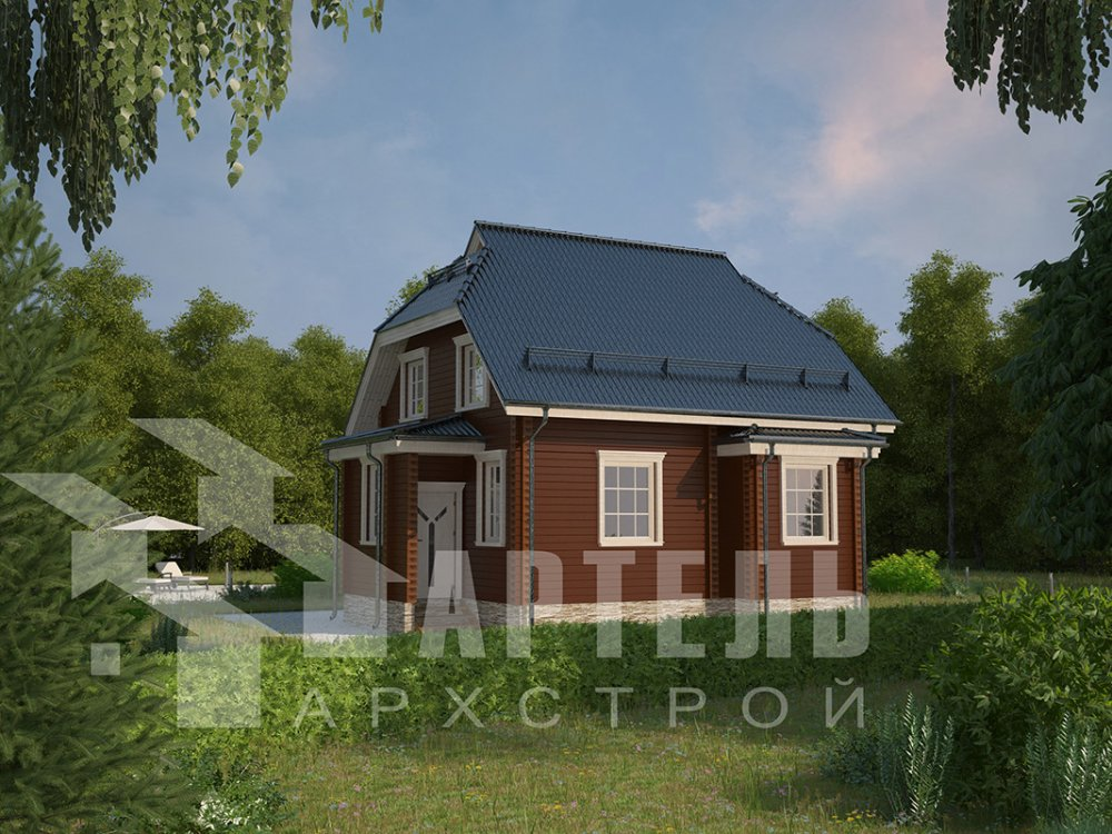 двухэтажный дом из профилированного бруса площадью от 100 до 150 кв. м. с  мансардой, эркером, проект Вариант 7 И фотография 3980