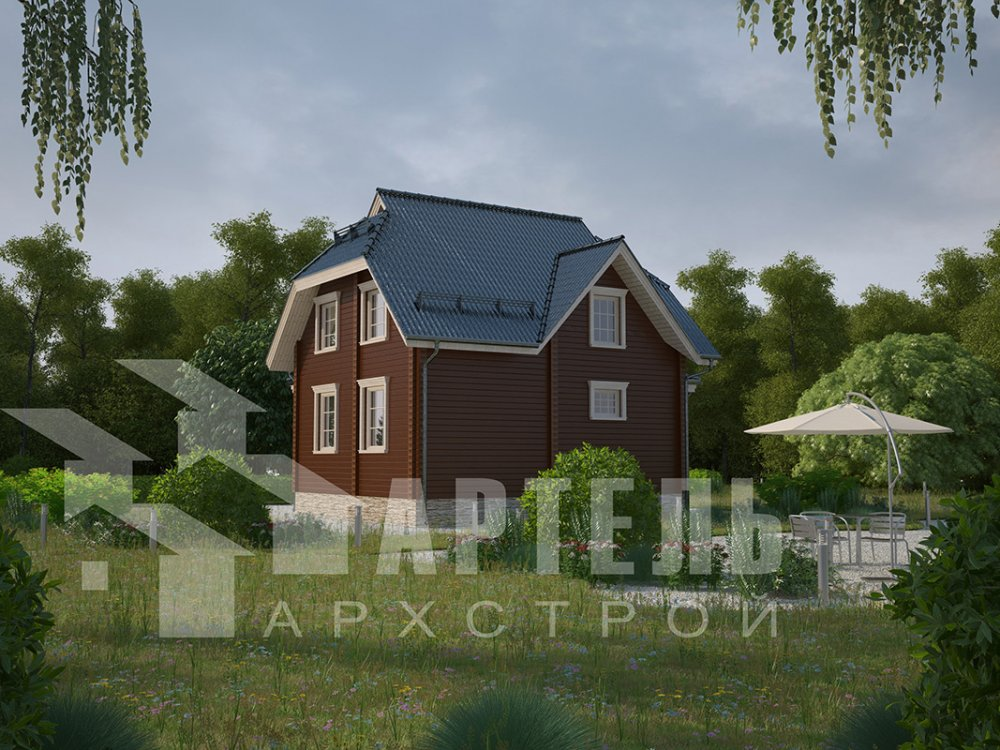двухэтажный дом из профилированного бруса площадью от 100 до 150 кв. м. с  мансардой, эркером, проект Вариант 7 И фотография 3971