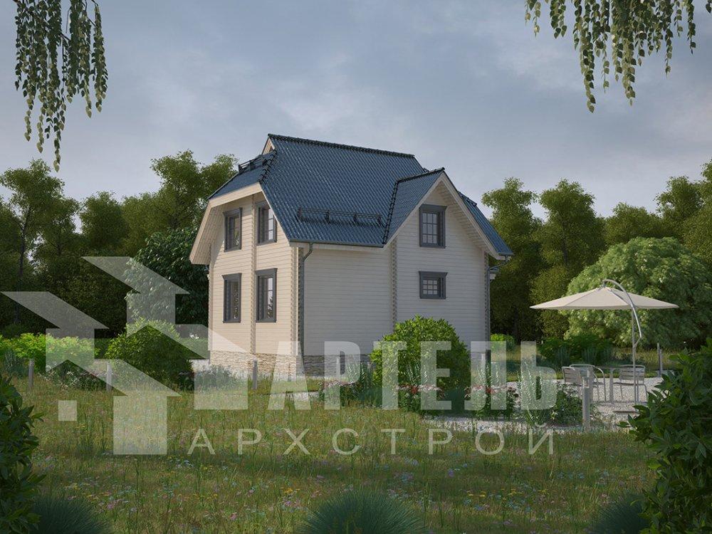 двухэтажный дом из профилированного бруса площадью от 100 до 150 кв. м. с  мансардой, эркером, проект Вариант 7 И фотография 3977