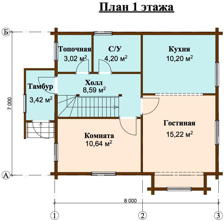 двухэтажный дом из профилированного бруса площадью от 100 до 150 кв. м. с  мансардой, эркером, проект Вариант 7 И фотография 4462