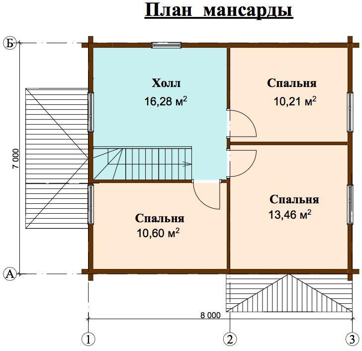 двухэтажный дом из профилированного бруса площадью от 100 до 150 кв. м. с  мансардой, эркером, проект Вариант 7 И фотография 4463