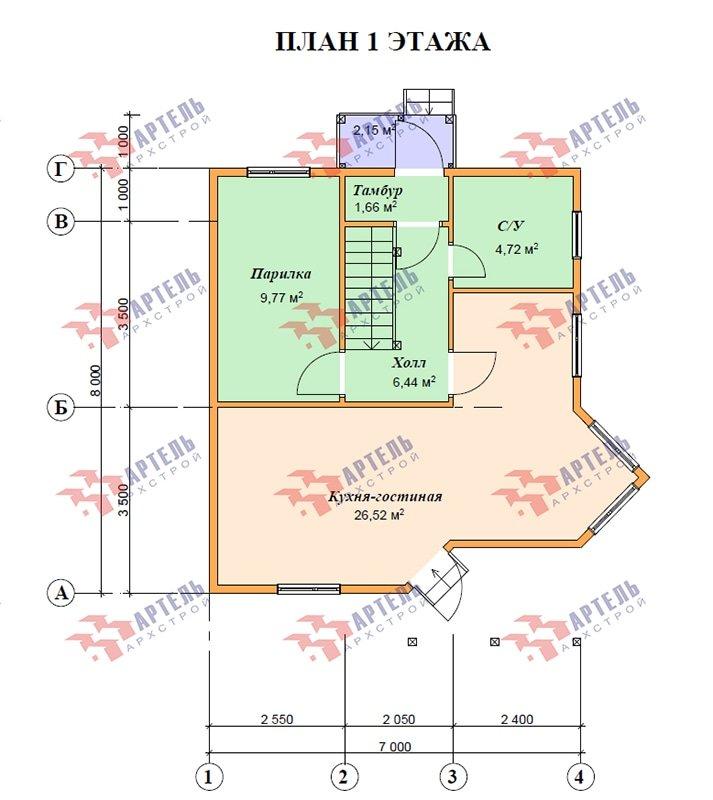 двухэтажный дом из профилированного бруса площадью до 100 кв. м. с  мансардой, эркером, проект Вариант 7 В фотография 4873