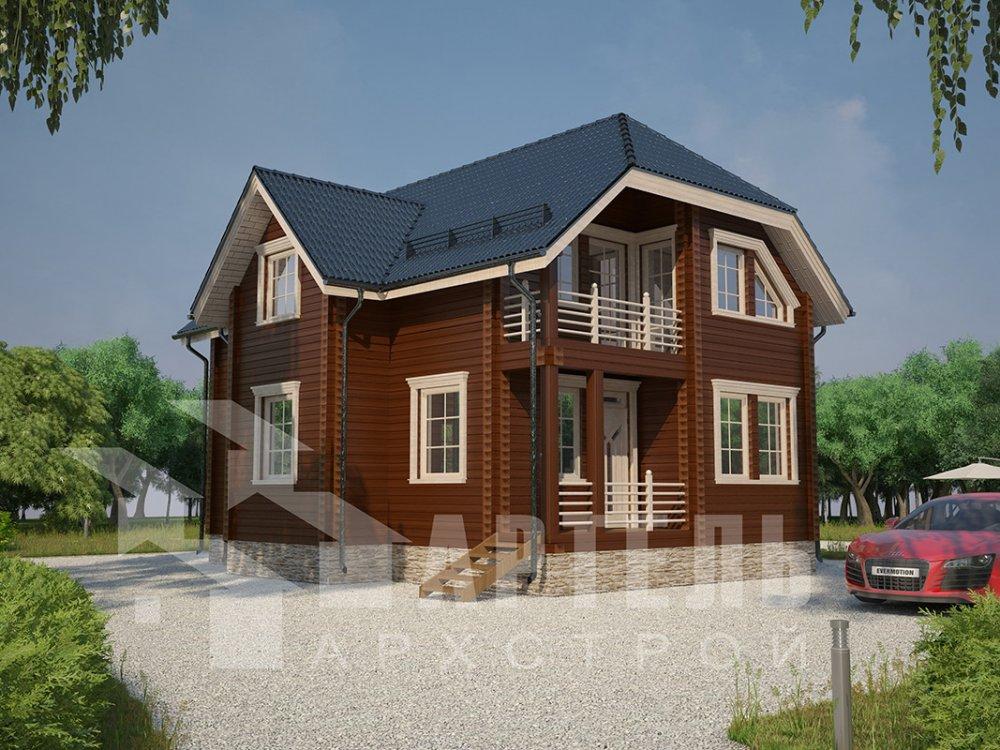 двухэтажный дом из профилированного бруса площадью от 100 до 150 кв. м. с  верандой, мансардой, эркером, проект Вариант 8.2 К фотография 4506
