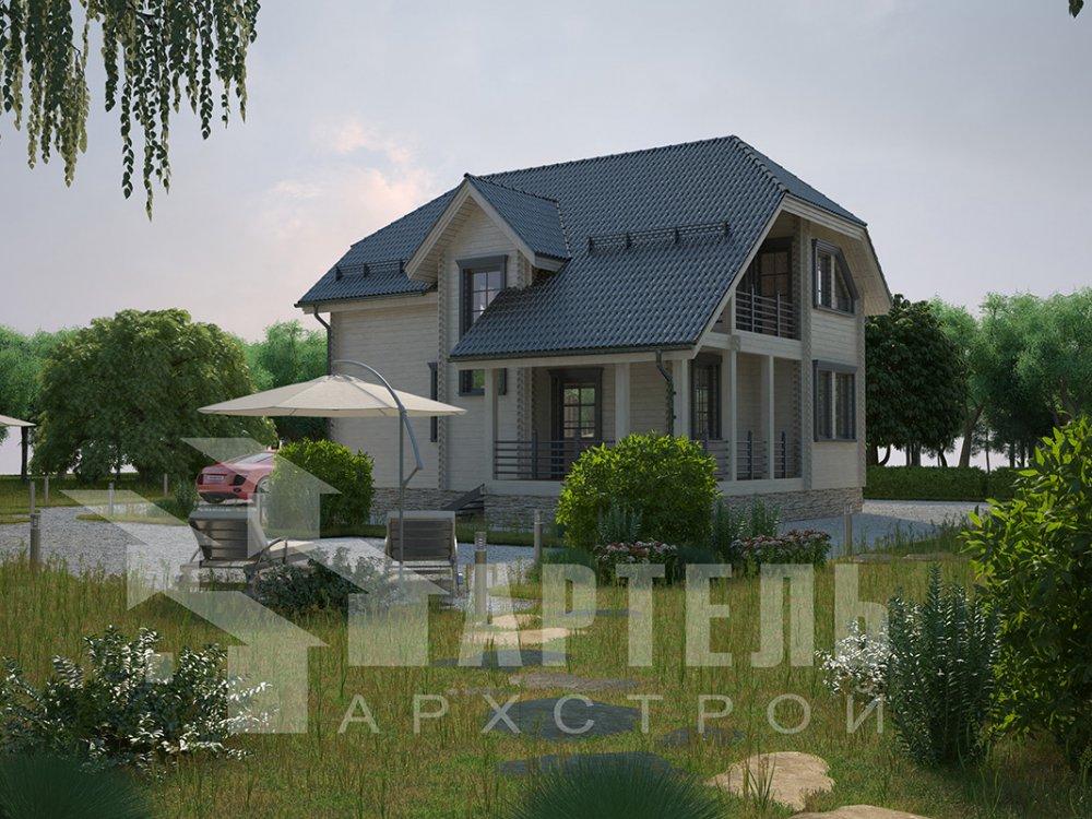 двухэтажный дом из профилированного бруса площадью от 100 до 150 кв. м. с  верандой, мансардой, эркером, проект Вариант 8.2 К фотография 4516