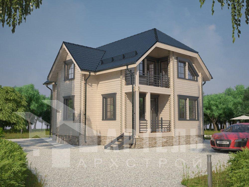 двухэтажный дом из профилированного бруса площадью от 100 до 150 кв. м. с  верандой, мансардой, эркером, проект Вариант 8.2 К фотография 4514