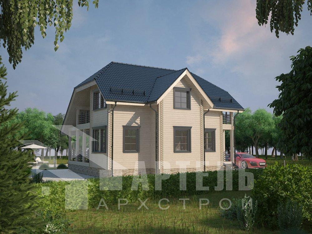 двухэтажный дом из профилированного бруса площадью от 100 до 150 кв. м. с  верандой, мансардой, эркером, проект Вариант 8.2 К фотография 4512