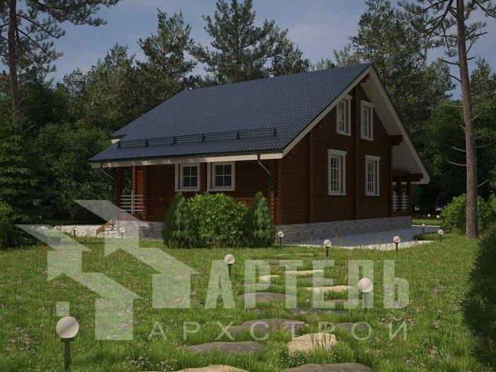 двухэтажный дом из профилированного бруса площадью от 150 до 200 кв. м. с  мансардой, террасой, проект Вариант 8.3 А фотография 4713