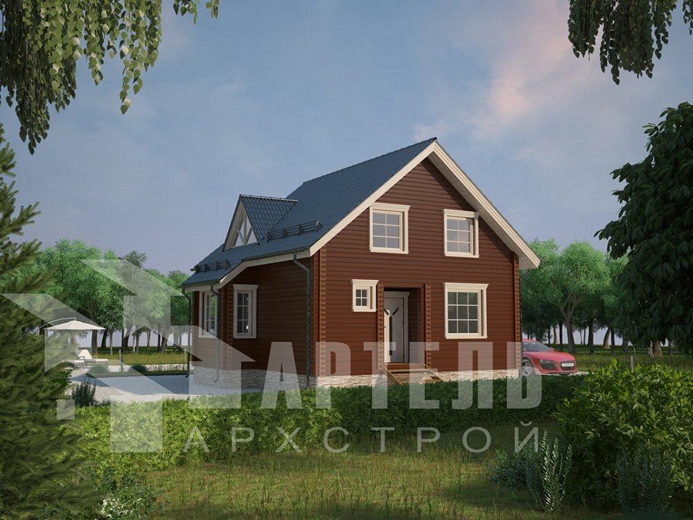 двухэтажный дом из профилированного бруса площадью от 100 до 150 кв. м. с  мансардой, эркером, проект Вариант 8.5 Б фотография 4065