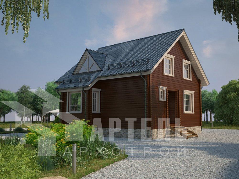 двухэтажный дом из профилированного бруса площадью от 100 до 150 кв. м. с  мансардой, эркером, проект Вариант 8.5 Б фотография 4072