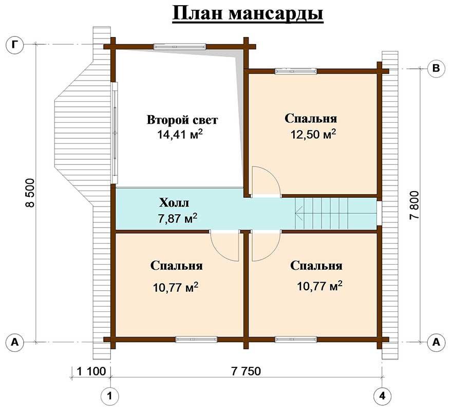 двухэтажный дом из профилированного бруса площадью от 100 до 150 кв. м. с  мансардой, эркером, проект Вариант 8.5 Б фотография 4778