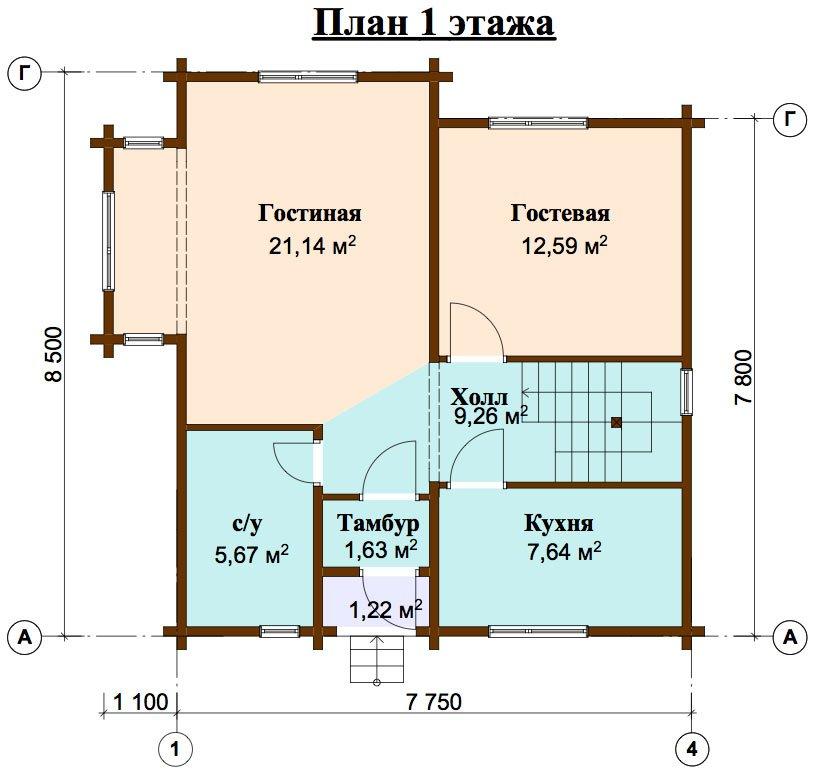 двухэтажный дом из профилированного бруса площадью от 100 до 150 кв. м. с  мансардой, эркером, проект Вариант 8.5 Б фотография 4465