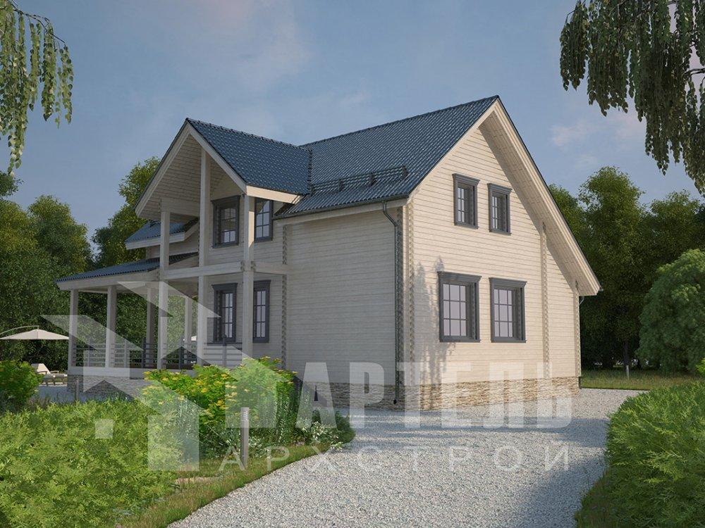 двухэтажный дом из профилированного бруса площадью от 150 до 200 кв. м. с  мансардой, террасой, проект Вариант 8.5 Л фотография 4543