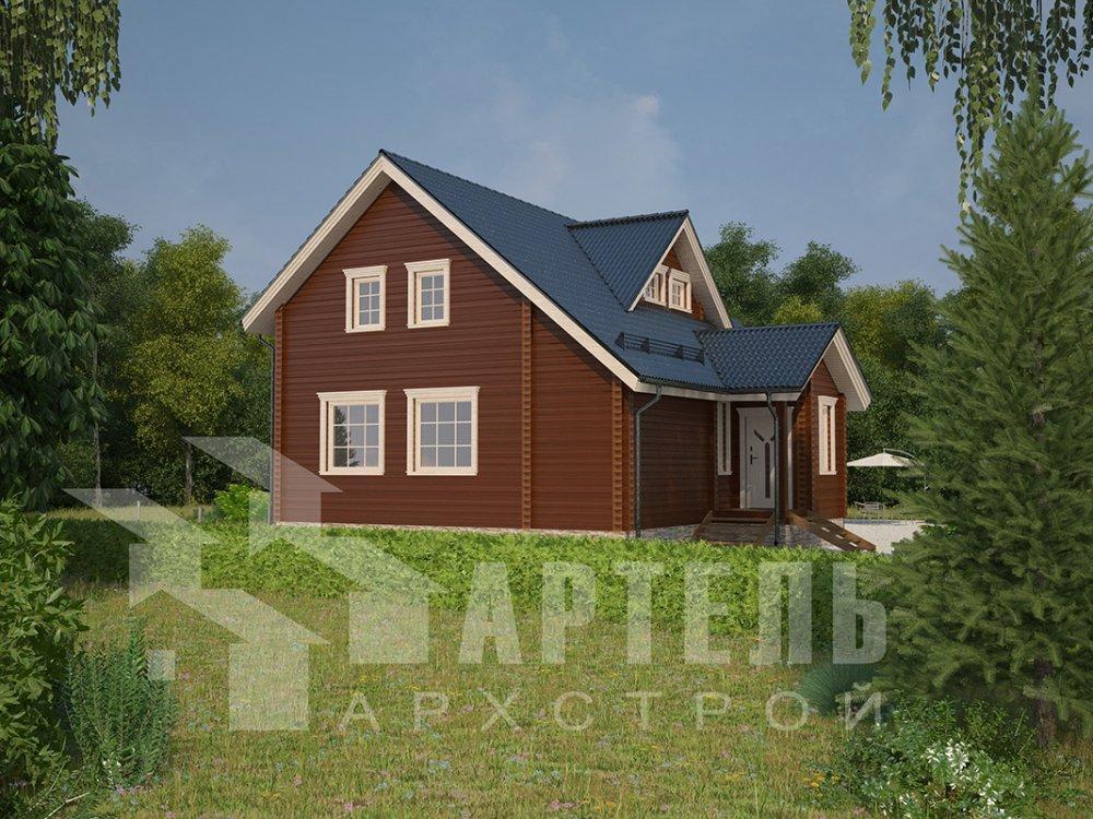 двухэтажный дом из профилированного бруса площадью от 150 до 200 кв. м. с  мансардой, террасой, проект Вариант 8.5 Л фотография 4533
