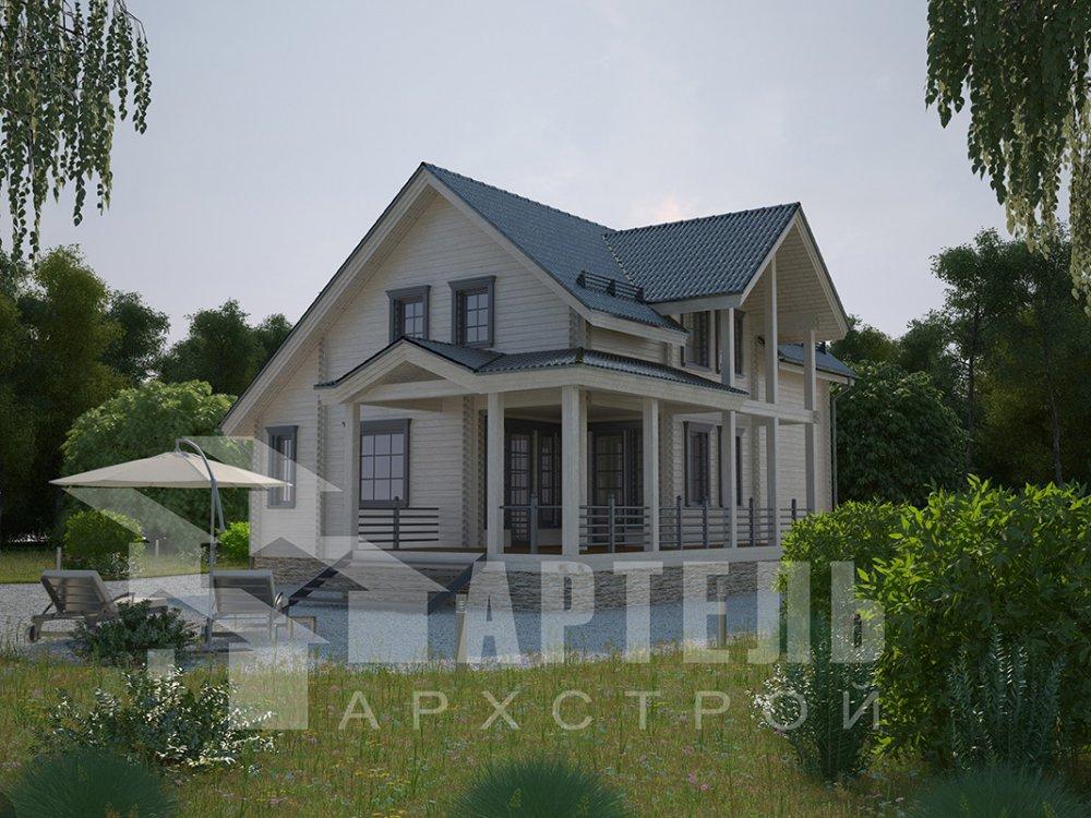 двухэтажный дом из профилированного бруса площадью от 150 до 200 кв. м. с  мансардой, террасой, проект Вариант 8.5 Л фотография 4534