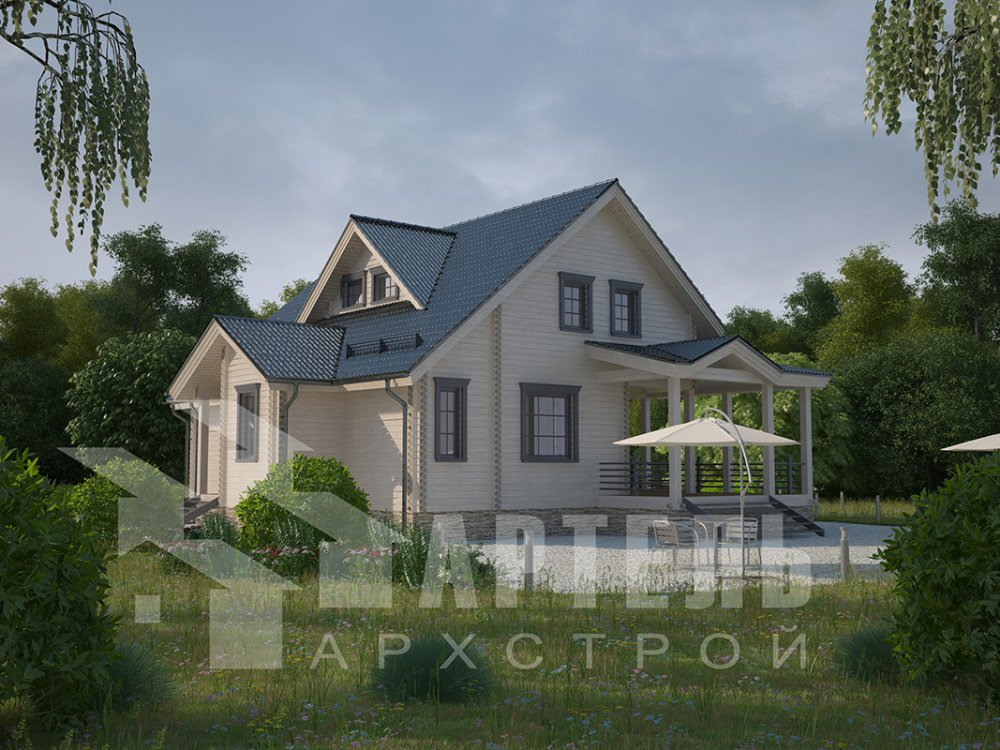 двухэтажный дом из профилированного бруса площадью от 150 до 200 кв. м. с  мансардой, террасой, проект Вариант 8.5 Л фотография 4542
