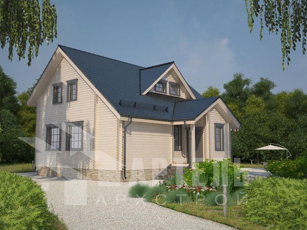 двухэтажный дом из профилированного бруса площадью от 150 до 200 кв. м. с  мансардой, террасой, проект Вариант 8.5 Л фотография 4541