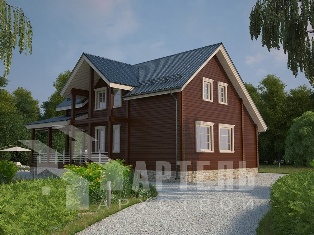 двухэтажный дом из профилированного бруса площадью от 150 до 200 кв. м. с  мансардой, террасой, проект Вариант 8.5 Л фотография 4538