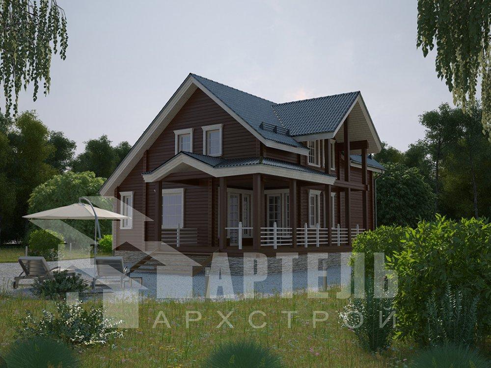 двухэтажный дом из профилированного бруса площадью от 150 до 200 кв. м. с  мансардой, террасой, проект Вариант 8.5 Л фотография 4537