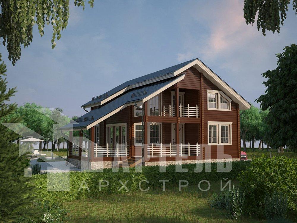 двухэтажный дом из профилированного бруса площадью от 150 до 200 кв. м. с  балконом, мансардой, террасой, проект Вариант 8.6 К фотография 4338