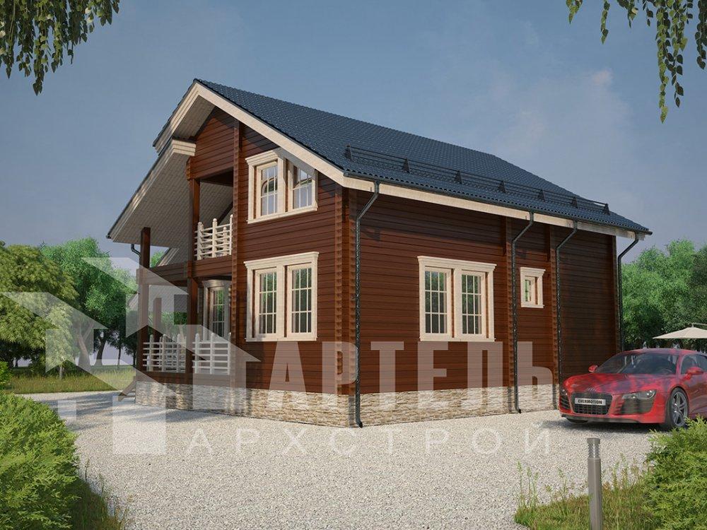 двухэтажный дом из профилированного бруса площадью от 150 до 200 кв. м. с  балконом, мансардой, террасой, проект Вариант 8.6 К фотография 4340