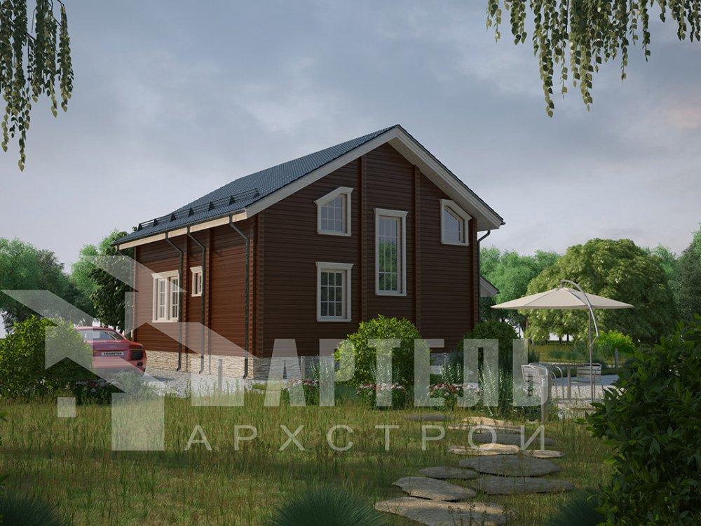 двухэтажный дом из профилированного бруса площадью от 150 до 200 кв. м. с  балконом, мансардой, террасой, проект Вариант 8.6 К фотография 4341