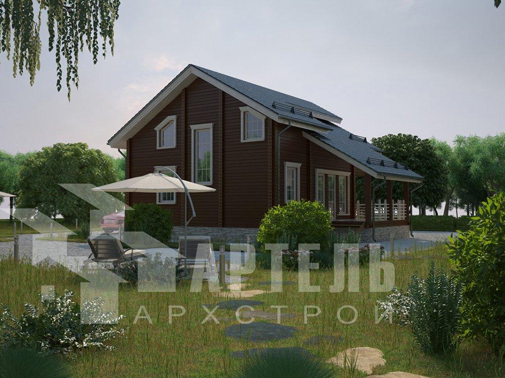 двухэтажный дом из профилированного бруса площадью от 150 до 200 кв. м. с  балконом, мансардой, террасой, проект Вариант 8.6 К фотография 4342