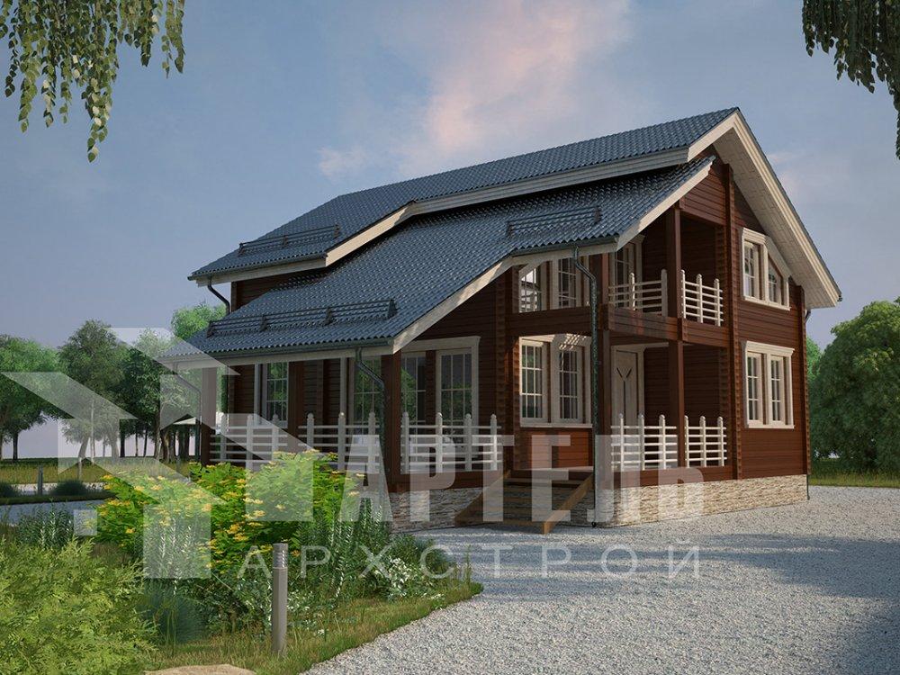 двухэтажный дом из профилированного бруса площадью от 150 до 200 кв. м. с  балконом, мансардой, террасой, проект Вариант 8.6 К фотография 4343